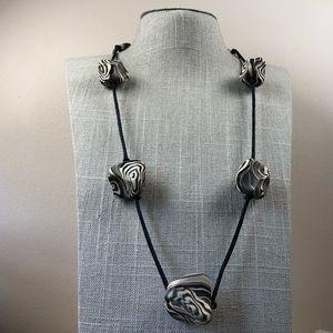 Jewelry - Unique zebra stripe clay bead black cord necklace